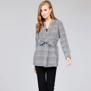 🍁JUST IN🍁 Long Sleeve Waist Tie Plaid Blazer